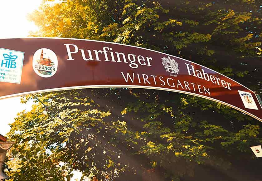Eingang Biergarten Purfinger Haberer
